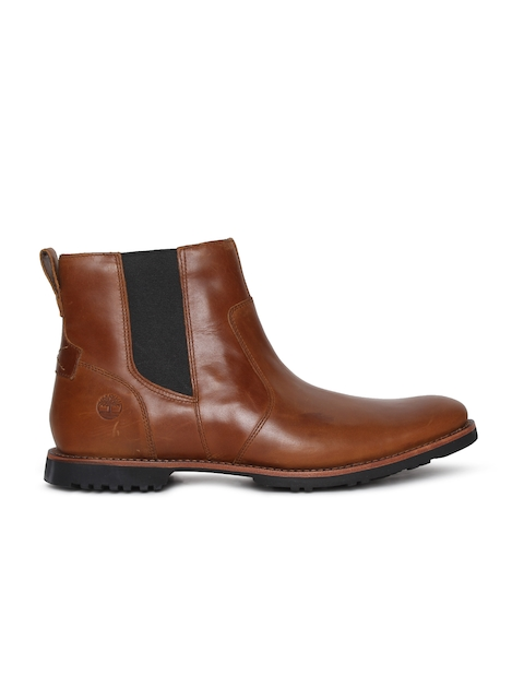 Timberland Men Tan Solid Leather Mid-Top KENDRICK Chelsea Boots