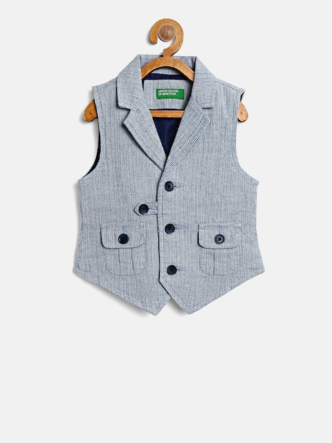 United Colors of Benetton Boys Blue Self-Design Waistcoat