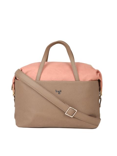 Baggit Brown & Peach-Coloured Colourblocked Handheld Bag