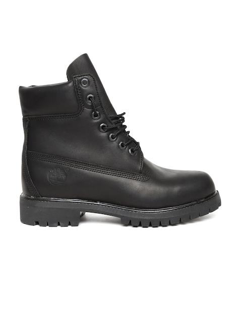 Timberland Men Black 6 PREM WP Solid Leather High-Top Flat Boots