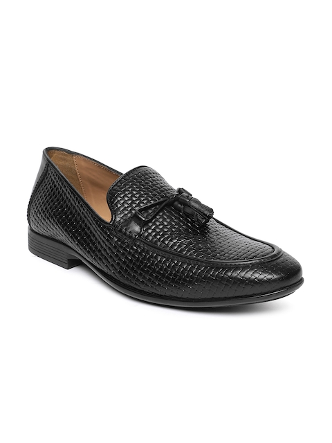 Arrow Men Black Textured Leather Loafers