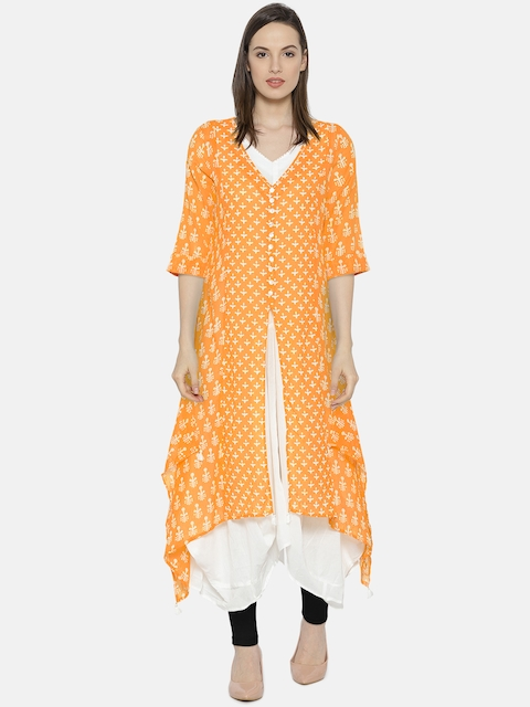 Biba Women Orange & White Printed Layered A-Line Dress