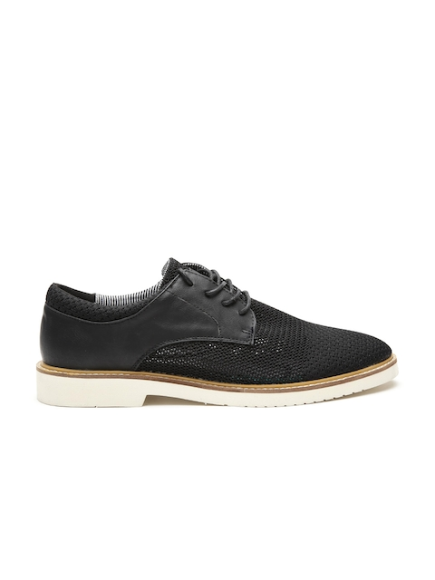 United Colors of Benetton Men Black Derbys