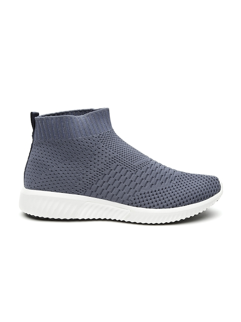 United Colors of Benetton Men Navy Blue Woven Design Mid-Top Slip-On Sneakers