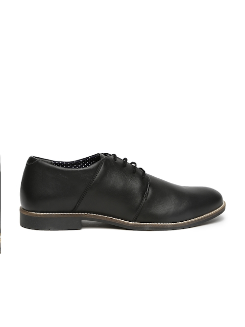 United Colors of Benetton Men Black Leather Derbys
