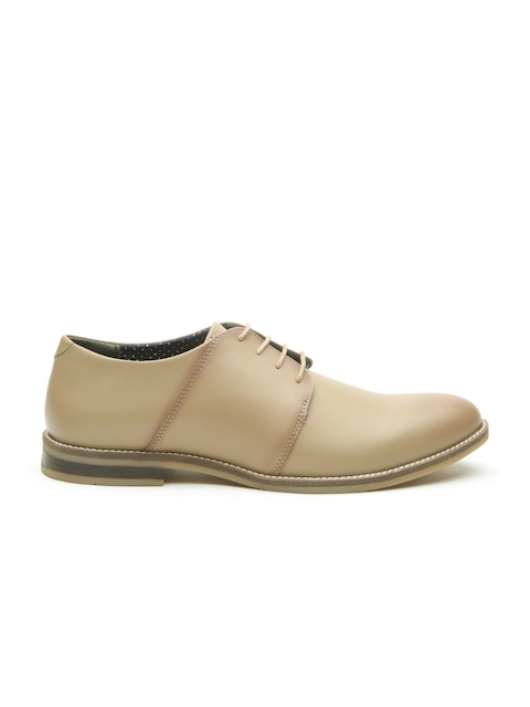 United Colors of Benetton Men Beige Leather Derbys