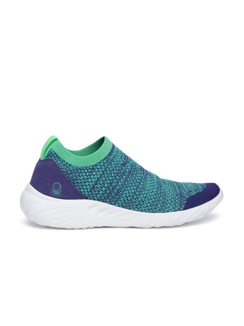 United Colors of Benetton Men Blue & Green Slip-On Sneakers