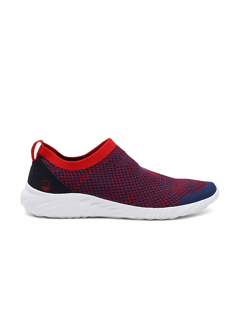 United Colors of Benetton Men Red & Blue Mesh Slip-Ons