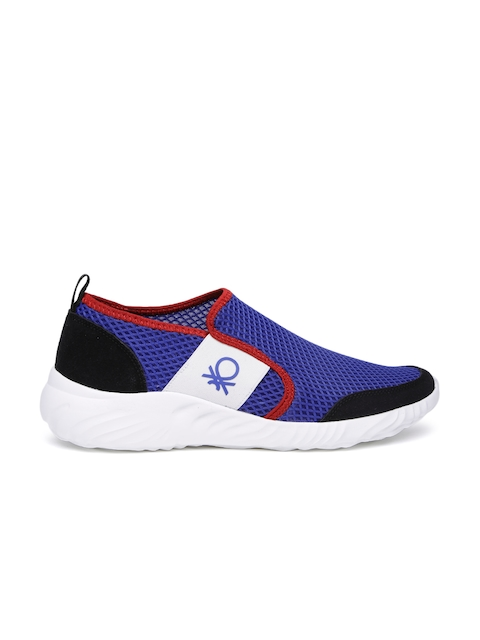 United Colors of Benetton Men Blue Mesh Slip-Ons