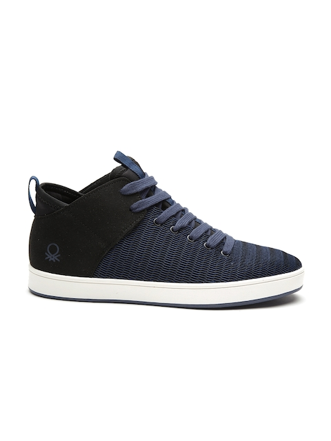 United Colors of Benetton Men Blue & Black Woven Design Sneakers