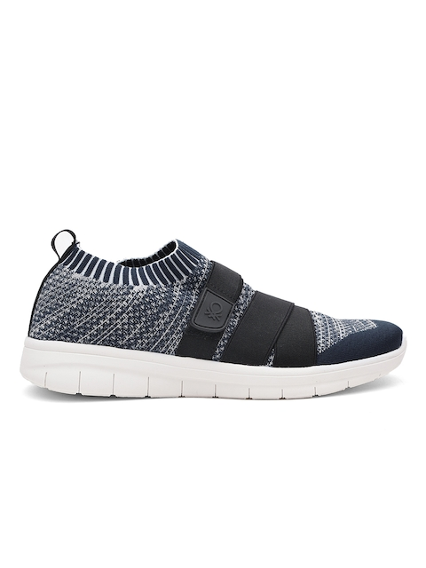 United Colors of Benetton Men Navy Blue & White Woven Design Slip-On Sneakers