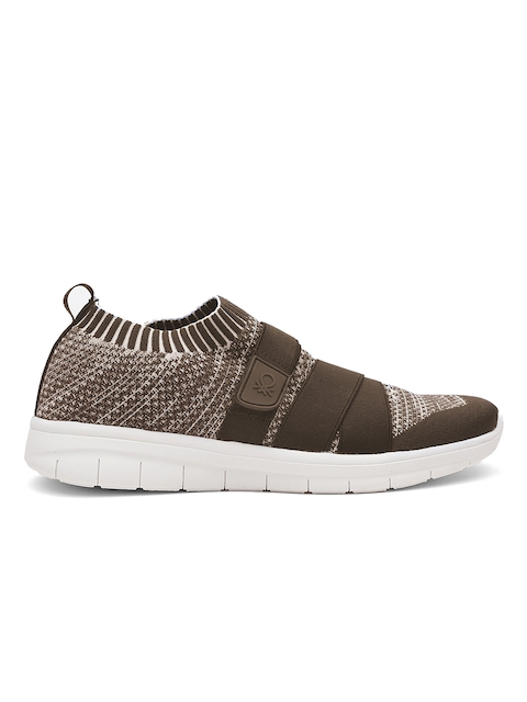 United Colors of Benetton Men Brown & Off-White Woven Design Slip-On Sneakers