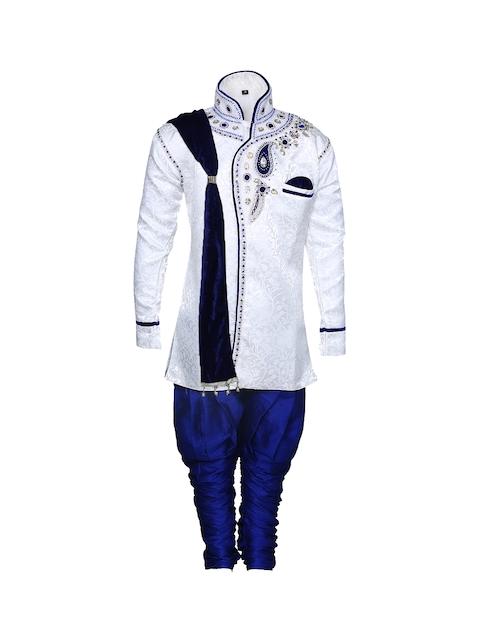 Aj DEZInES Boys White & Blue Embellished Sherwani Set