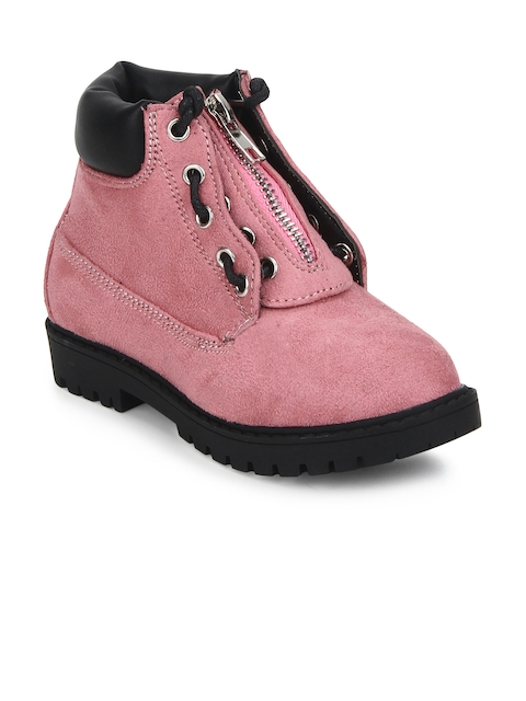 MINNI TC Girls Pink Solid Suede High-Top Flat Boots