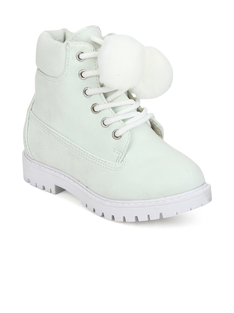 MINNI TC Girls Green Solid Suede High-Top Flat Boots