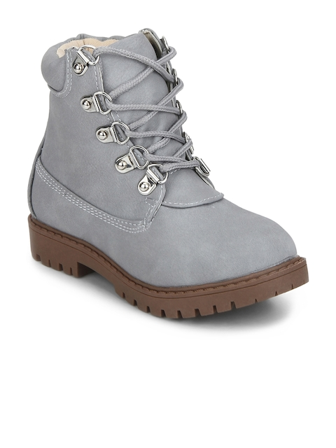 MINNI TC Girls Grey Solid Suede High-Top Suede Flat Boots