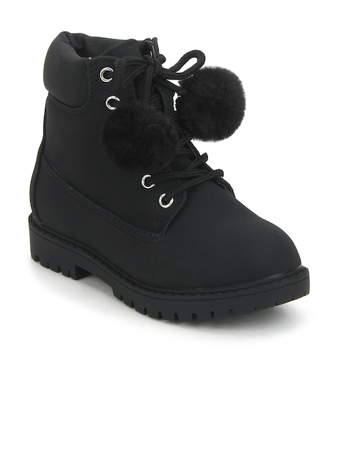 MINNI TC Girls Black Solid Suede High-Top Flat Boots