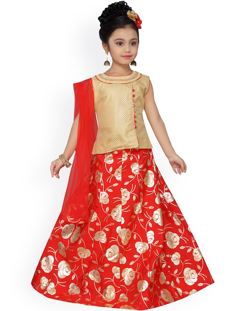 ADIVA Girls Red & Beige Printed Ready to Wear Lehenga & Blouse with Dupatta
