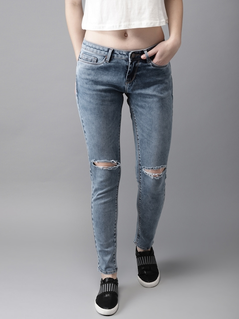 HERE&NOW Women Blue Skinny Fit Mid-Rise Slash Knee Stretchable Jeans
