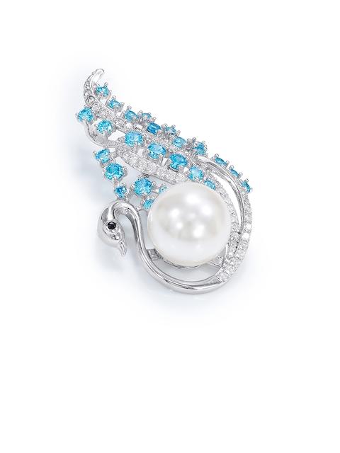 Taraash Women Sterling Silver Pearl & CZ Studded Brooch