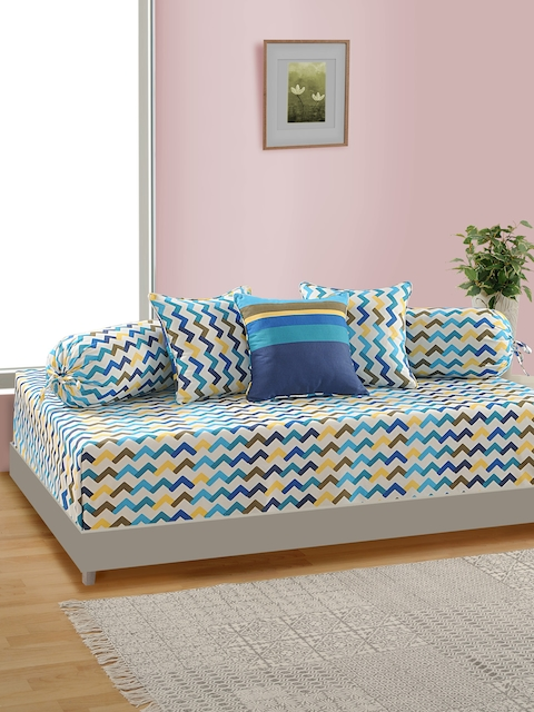 SWAYAM Set Of 6 White And Blue Geometric Diwan Set with Bolster and Cushion Covers