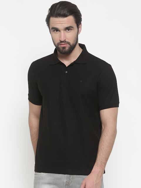 Peter England Men Black Solid Polo T-shirt