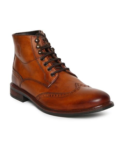 U.S. Polo Assn. Men Tan Brown Brett Leather High-Top Flat Boots