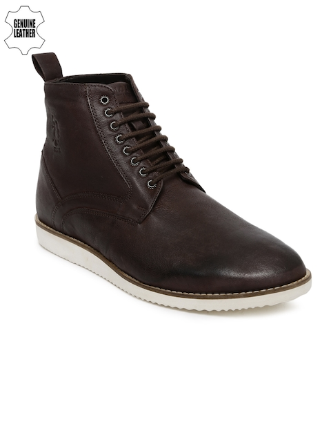 U.S. Polo Assn. Men Brown Solid Genuine Leather High-Top Flat Boots