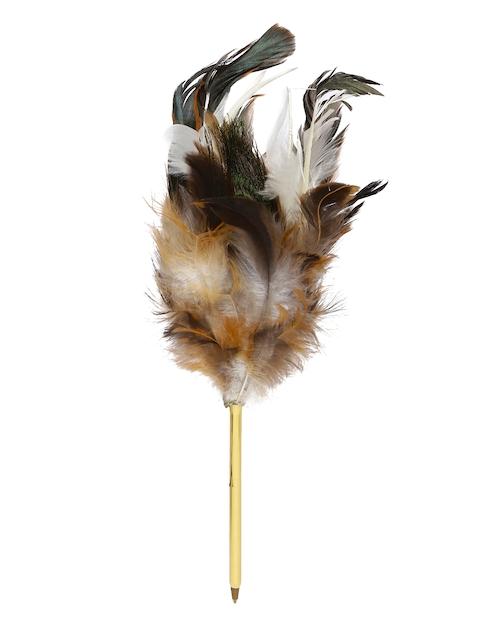 Rubinato Unisex Brown Peacock Feather Ball Pen
