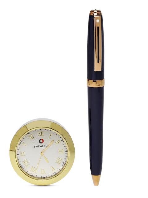 Sheaffer Unisex 9143 Navy & Gold-Toned Ballpoint Pen With Gold Chrome Table Clock