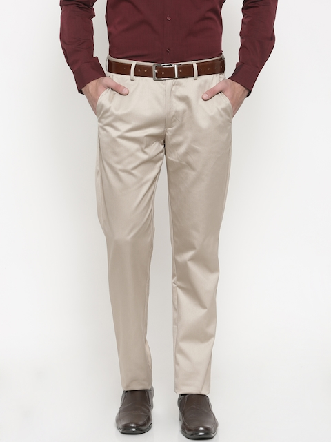 Peter England Men Beige Slim Fit Solid Formal Trousers