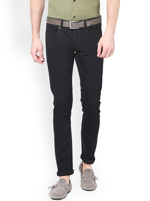 Peter England Casuals Men Black Slim Fit Mid-Rise Clean Look Jeans
