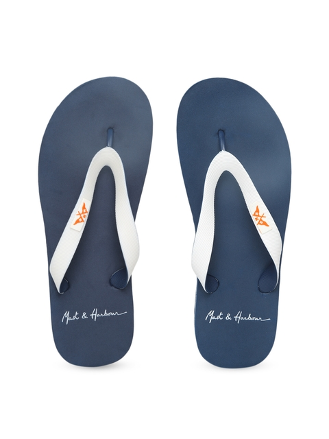 Mast & Harbour Men White & Navy Blue Solid Flip-Flops