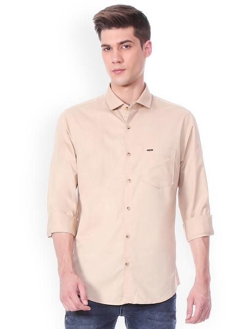 Peter England Casuals Men Beige Slim Fit Solid Casual Shirt