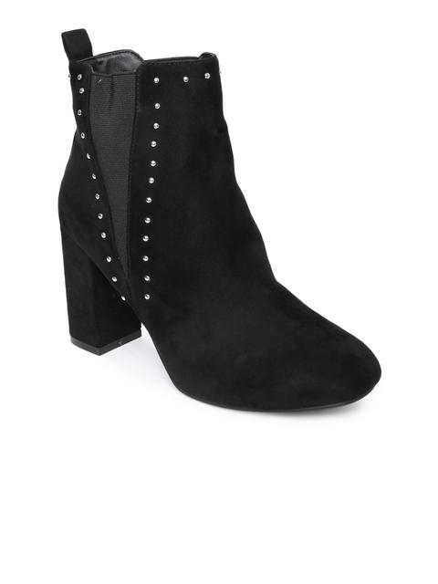 Catwalk Women Black Studded Heeled Boots