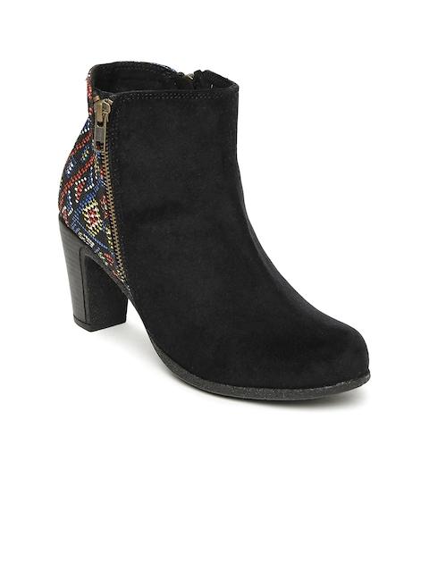 Catwalk Women Black Woven Design Heeled Boots