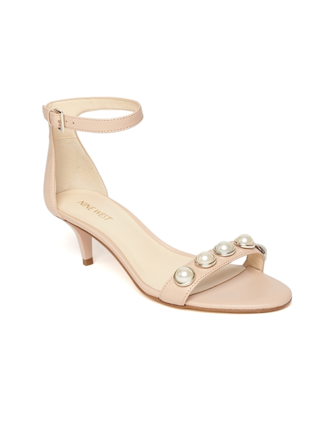 Nine West Women Peach-Coloured Solid Leather Sandals