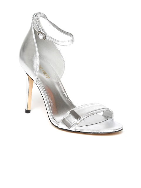Nine West Women Silver-Toned Leather Sandals