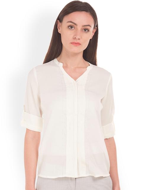 Arrow Woman Women Off-White Original Regular Fit Solid Casual Shirt