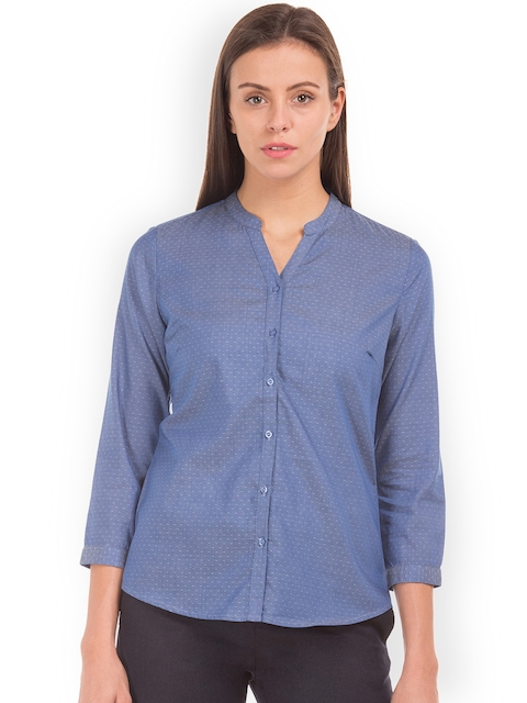 Arrow Woman Women Blue Original Regular Fit Self Design Casual Shirt
