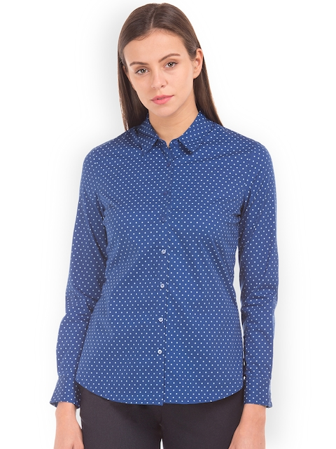 Arrow Woman Women Blue Original Regular Fit Printed Casual Shirt