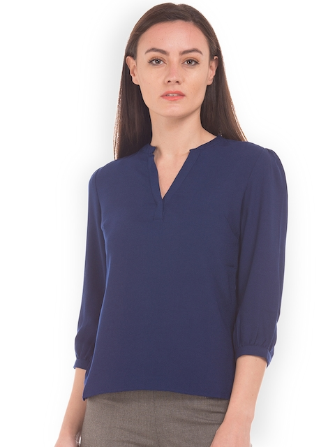 Arrow Woman Women Navy Blue Knitted Solid Top
