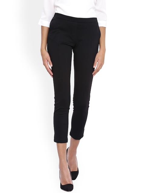 Arrow Woman Black Original Regular Fit Self Design Regular Trousers