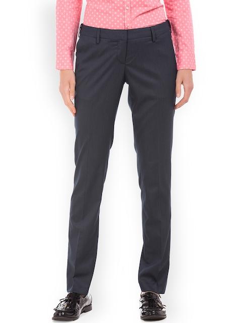 Arrow Woman Navy Blue Original Regular Fit Solid Regular Trousers