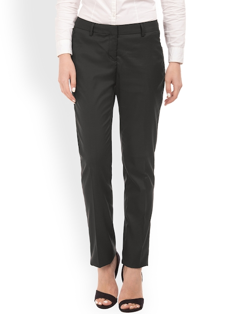 Arrow Woman Black Original Regular Fit Solid Regular Trousers