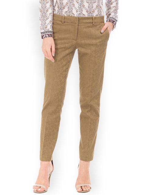 Arrow Woman Brown Original Regular Fit Self Design Regular Trousers