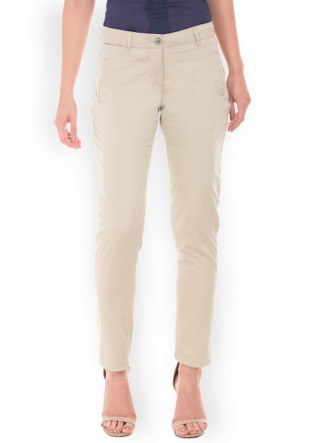Arrow Woman Beige Original Regular Fit Solid Regular Trousers