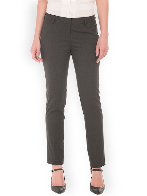 Arrow Woman Grey Original Regular Fit Solid Regular Trousers