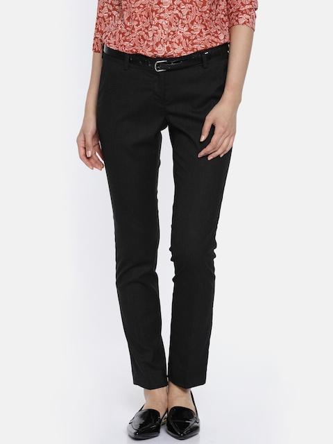 Arrow Woman Black Original Regular Fit Solid Formal Trousers