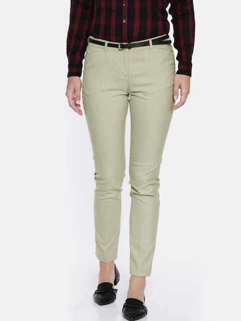 Arrow Woman Beige Original Regular Fit Solid Formal Trousers